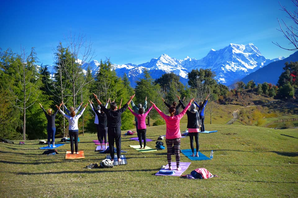Yoga in Deoriatal Lake
